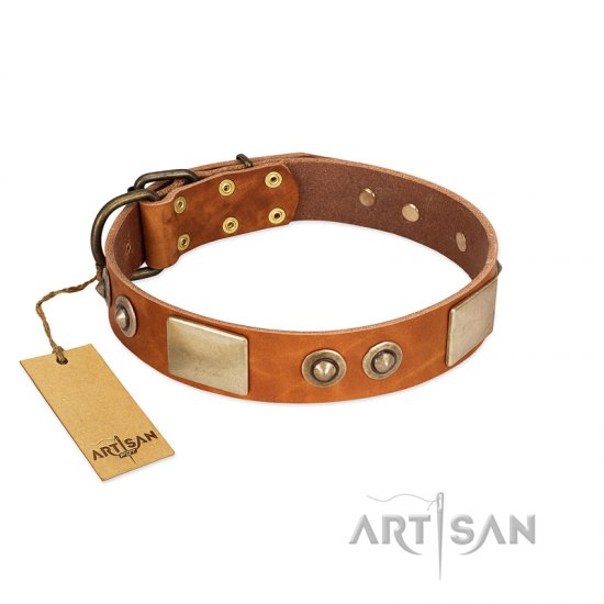 """Perfect Blend"" FDT Artisan Tan Leather Mastiff Collar 1 1/2 inch (40 mm) wide"