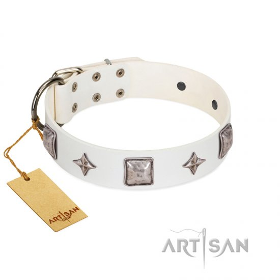 """Vanilla Ice"" FDT Artisan Handmade White Leather Mastiff Collar with Silver-like Adornments"