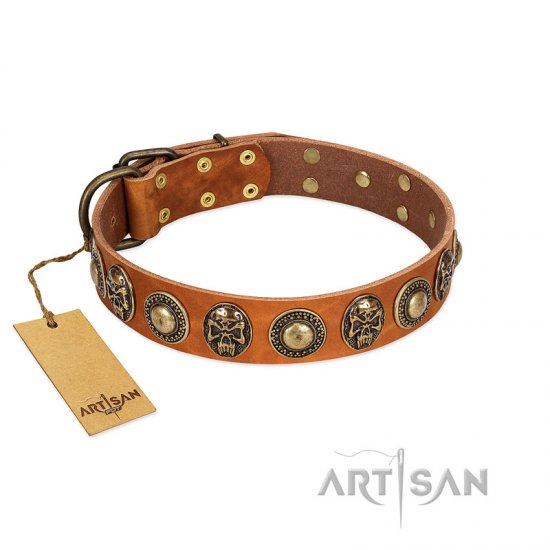 """Golden Epoch"" FDT Artisan Tan Leather Mastiff Collar with Old Bronze-plated Medallions and Conchos"
