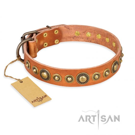 'Feast of Luxury' FDT Artisan Mastiff Tan Leather Dog Collar with Old Bronze-Like Plated Circles - 1 1/2 inch (40 mm) wide