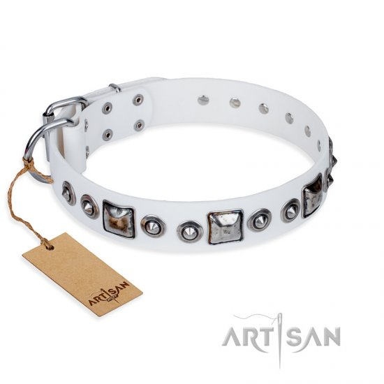 'Lustre of Fame' FDT Artisan White Studded Leather Mastiff Dog Collar