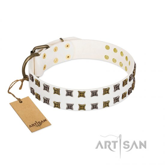 """Ice Peak"" FDT Artisan White Leather Mastiff Collar with Silvery and Goldish Decorations"