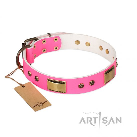 'Pink Dreams' FDT Artisan Mastiff Leather Dog Collar with Adornments 1 1/2 inch (40 mm) wide