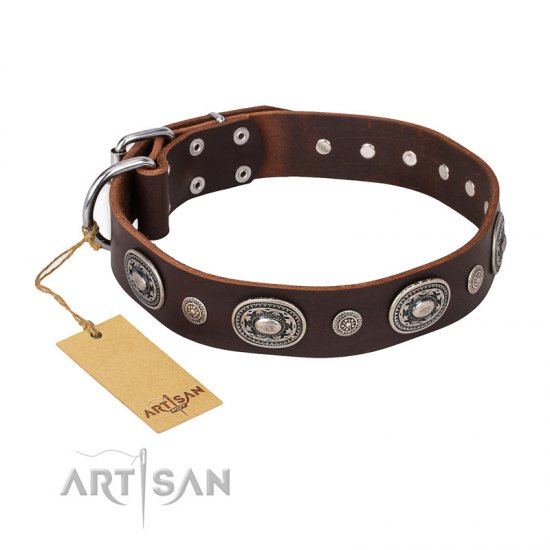 'Extra Pizzazz' FDT Artisan Adorned Brown Leather Mastiff Collar
