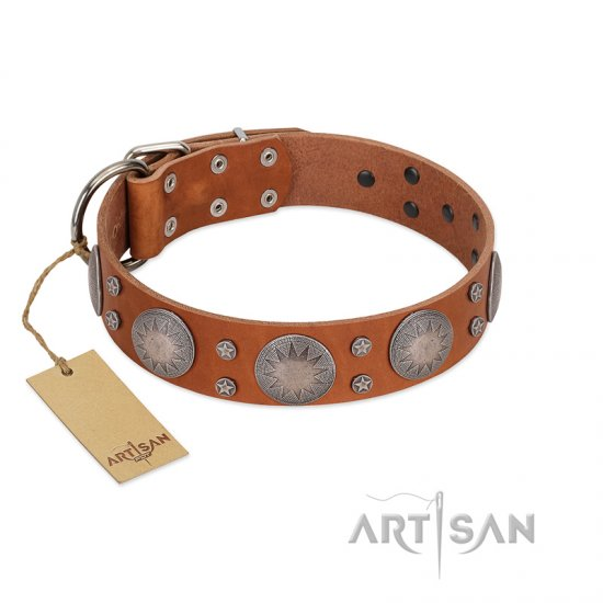 """Far Star"" FDT Artisan Tan Leather Mastiff Collar with Engraved Studs"