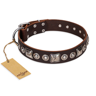 'Pierian spring' FDT Artisan Brown Leather Mastiff Dog Collar with Silvery Decorations - 1 1/2 inch (40 mm) wide