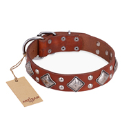 """Magic Squares"" FDT Artisan Adjustable Tan Leather Mastiff Collar"