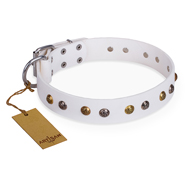 'Snowflake' FDT Artisan White Leather Mastiff Collar with Decorations
