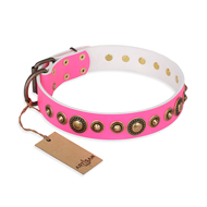 'Pink Gloss' Leather Mastiff Collar with Old Bronze-like Plated Circles and Studs 1 1/2 inch (40 mm) Wide