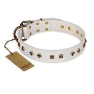 'Snow Cloud' FDT Artisan White Leather Mastiff Collar with Square and Rhomb Studs