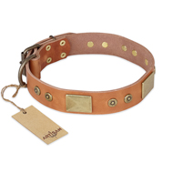 'The Middle Ages' FDT Artisan Handcrafted Tan Leather Mastiff Dog Collar
