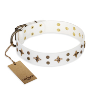 """Bright stars"" FDT Artisan Exclusive White Leather Mastiff Collar - 1 1/2 inch (40 mm) wide"