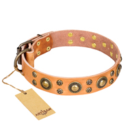 'Sophisticated Glamor' FDT Artisan Mastiff Leather Collar with Old-bronze Plated Decorations