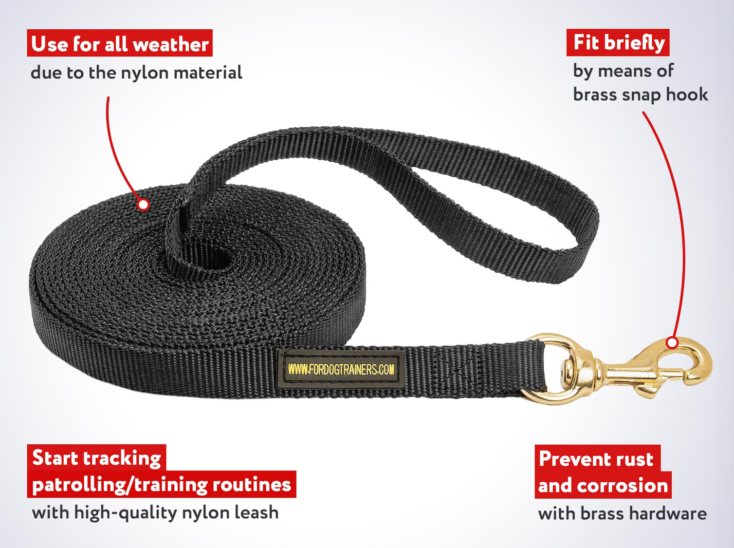 2 Ply Nylon Leash for Tracking, Training and Walking with Your Mastiff