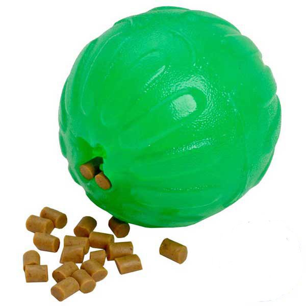 Dog treat toy with massaging surface