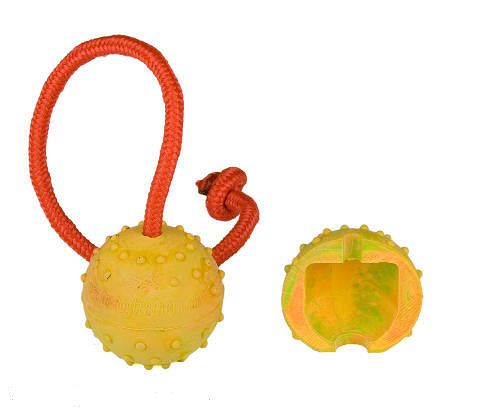 Rubber toy with nylon string for playing