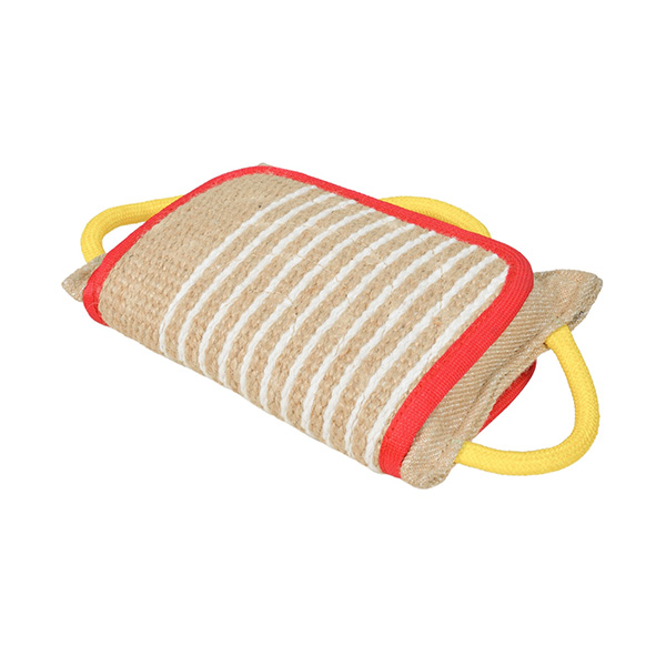 Strong jute dog pillow for biting with handles