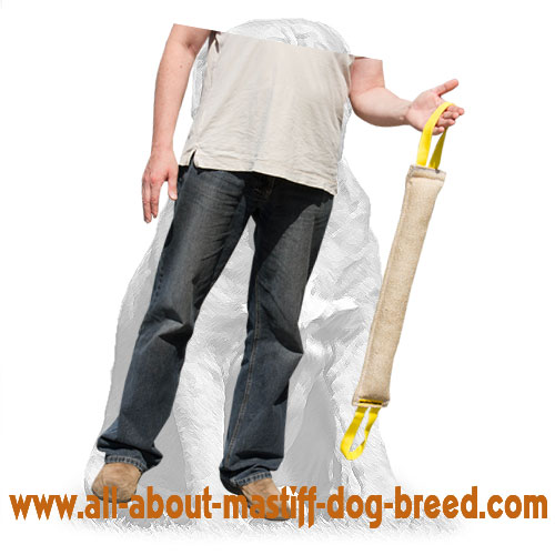 Durable dog jute tug with handles