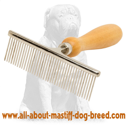 Grooming dog brush with comfy wooden handle
