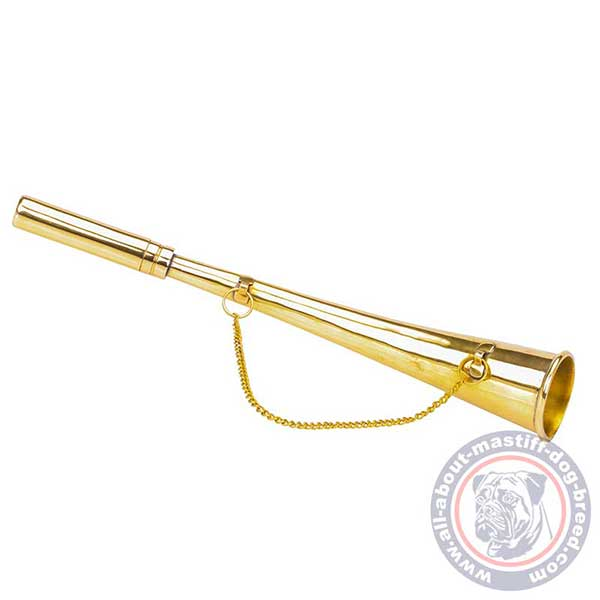 Golden brass dog horn