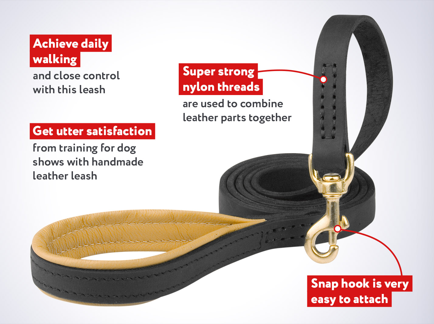 Leather Dog Leash with Support Material on the Handle