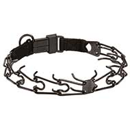 Black Stainless Steel Mastiff Pinch Collar with Click Lock Buckle 1/8 inch (3.2 mm) link diameter