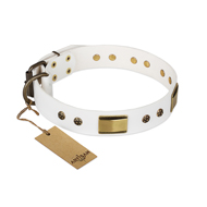 'Precious Necklace' FDT Artisan Mastiff White Leather Dog Collar with Old Bronze Look Plates and Studs - 1 1/2 inch (40 mm) wide