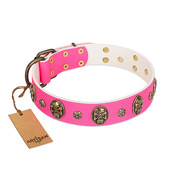 """Fashion Show"" FDT Artisan Pink Leather Mastiff Collar with Old Bronze-like Skulls and Studs"