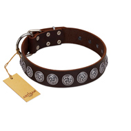 """Charming Circles"" FDT Artisan Brown Leather Mastiff Collar with Silver-like Studs"