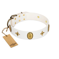 """Hollywood Star"" FDT Artisan White Leather Mastiff Collar with Ovals and Stars - 1 1/2 inch Wide"