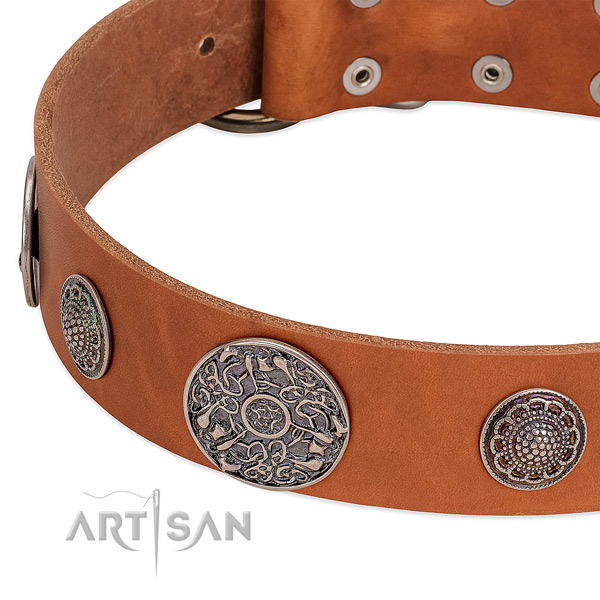 Strong hardware on full grain natural leather dog collar