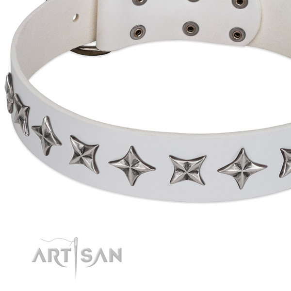Easy wearing embellished dog collar of best quality full grain natural leather