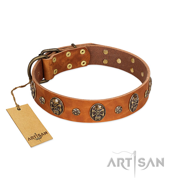 Comfortable full grain natural leather collar for your canine