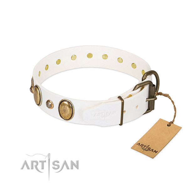 Everyday use natural genuine leather dog collar