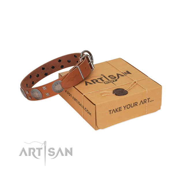 Durable hardware on genuine leather dog collar for fancy walking
