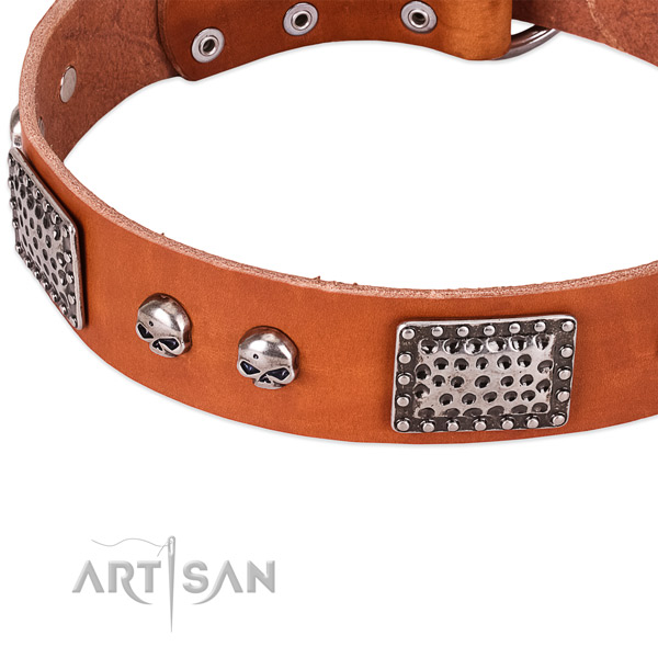 Rust resistant D-ring on natural genuine leather dog collar for your dog