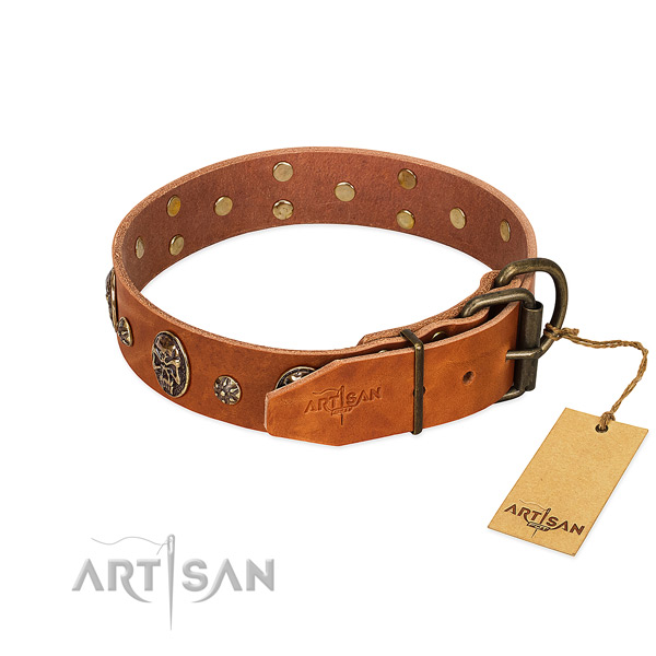 Strong traditional buckle on full grain leather dog collar for your dog