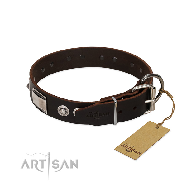 Remarkable collar of full grain natural leather for your four-legged friend