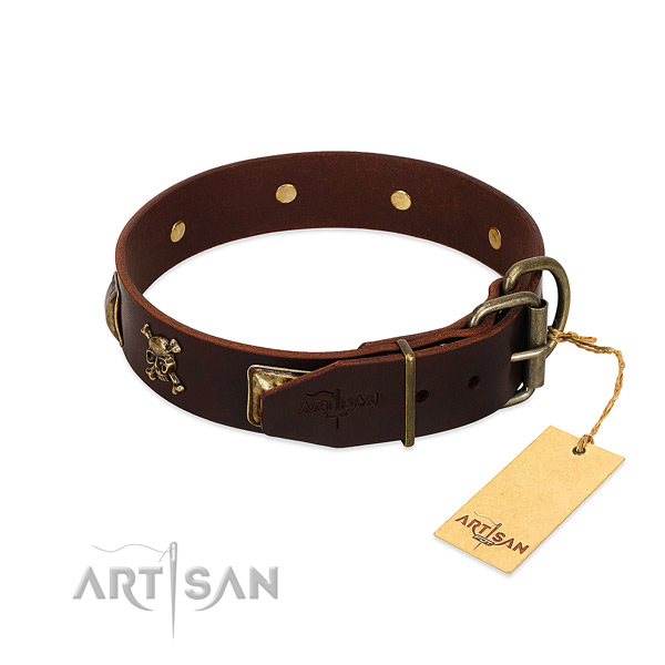 Flexible genuine leather dog collar with unusual adornments