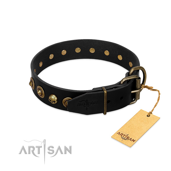 Leather collar with stunning embellishments for your canine
