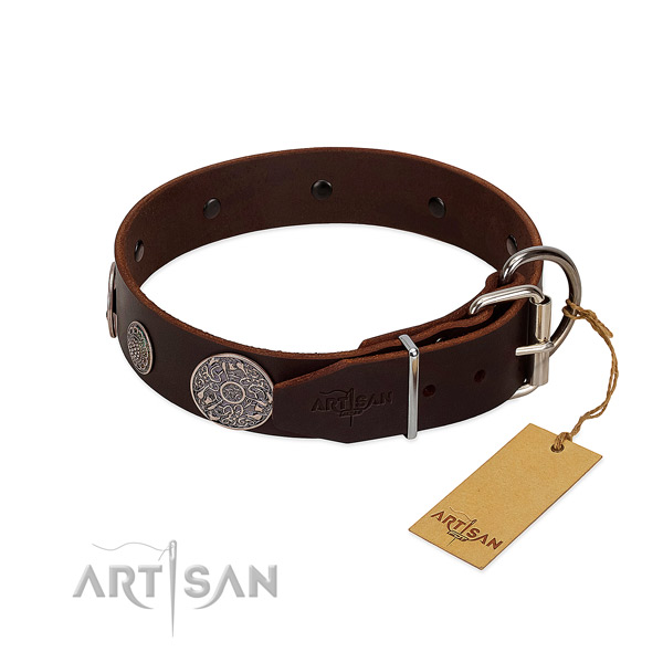 Rust-proof adornments on genuine leather dog collar