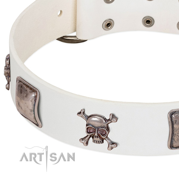 Corrosion resistant studs on natural genuine leather dog collar