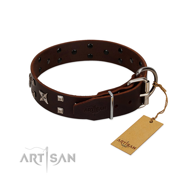 Top rate leather collar handcrafted for your doggie
