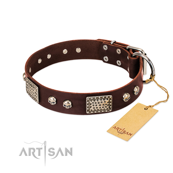 Adjustable full grain natural leather dog collar for daily walking your canine