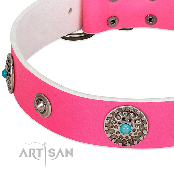 Easy wearing collar of leather for your stylish pet