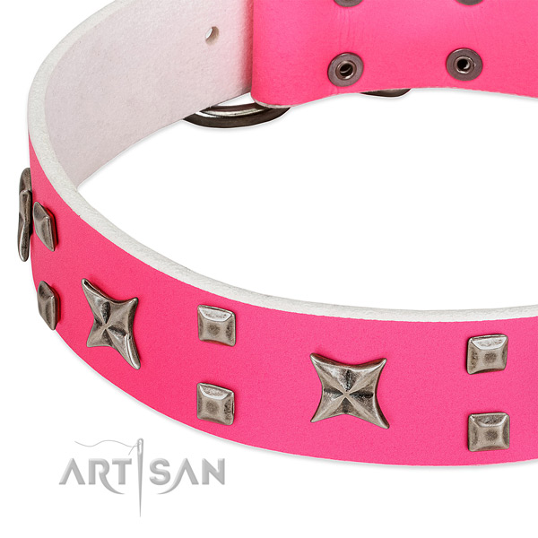 Exceptional full grain leather collar for your canine daily walking