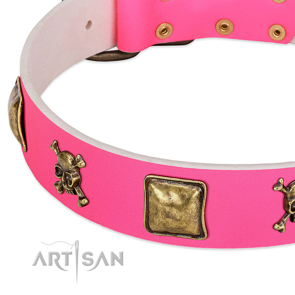 Soft to touch natural leather dog collar with incredible studs