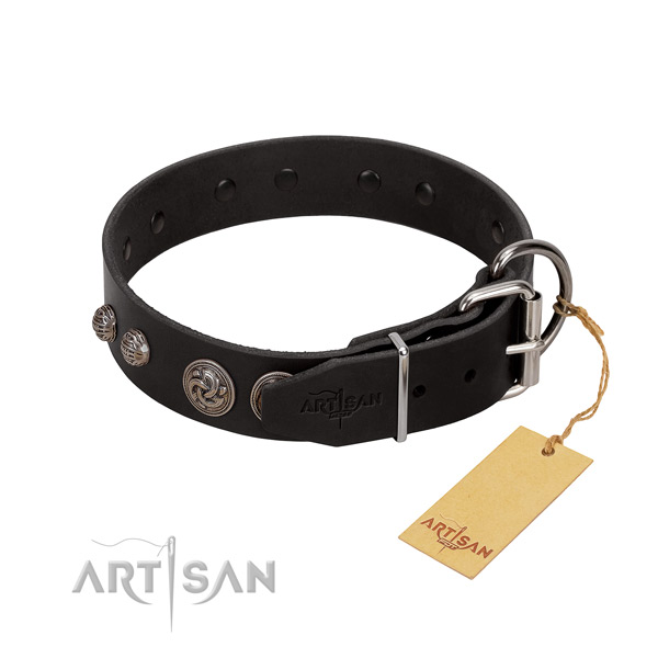 Durable full grain natural leather dog collar with embellishments