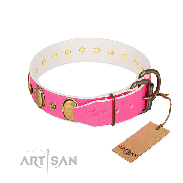 Soft genuine leather collar crafted for your canine