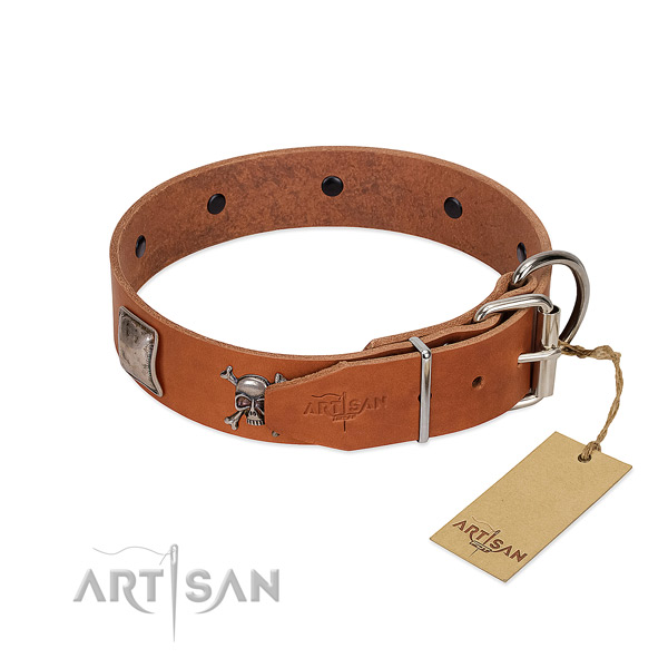 Easy adjustable full grain leather collar for your lovely doggie
